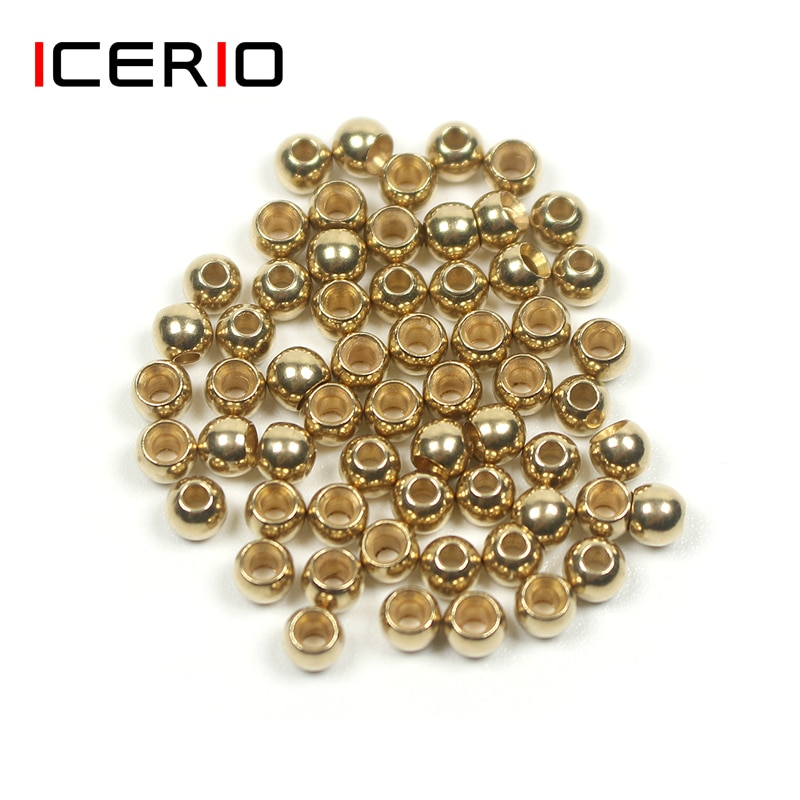 ICERIO 50PCS Fly Tying Brass Beads Nymph Streamer Bugs Fly Hook Tying Materials icerio 50pcs fly tying brass beads nymph streamer bugs fly hook tying materials