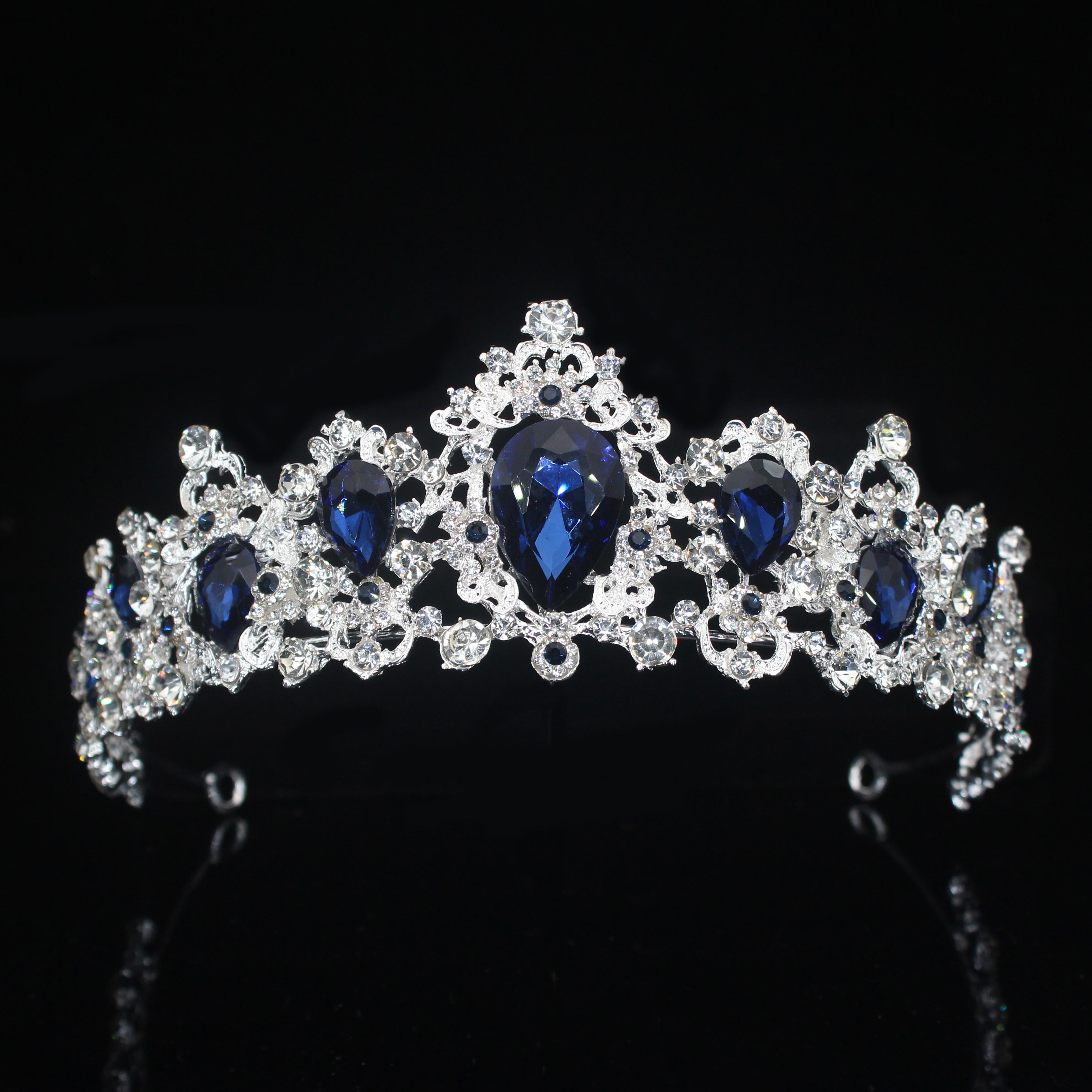 Tiara de corona nupcial de cristal para mujer, accesorios de joyas para...