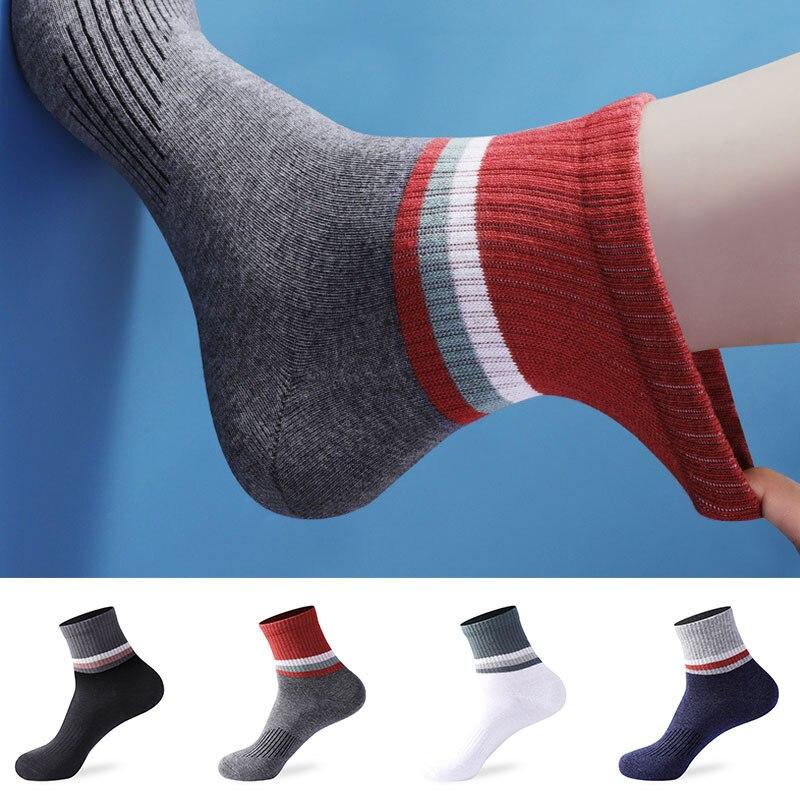 Мужские повседневные носки, мягкие дышащие хлопковые носки до щиколотки, спортивные носки, короткие мужские носки, удобные дышащие носки дл...