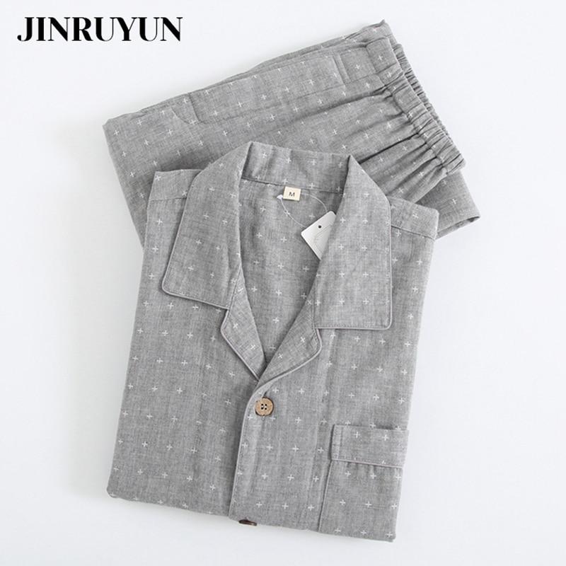 Пижамы комплект мужские% 27 весна и осень 100% 25котон тонкий простой кардиган удобный молодежный домашний сервис костюм японский стиль одежда для сна