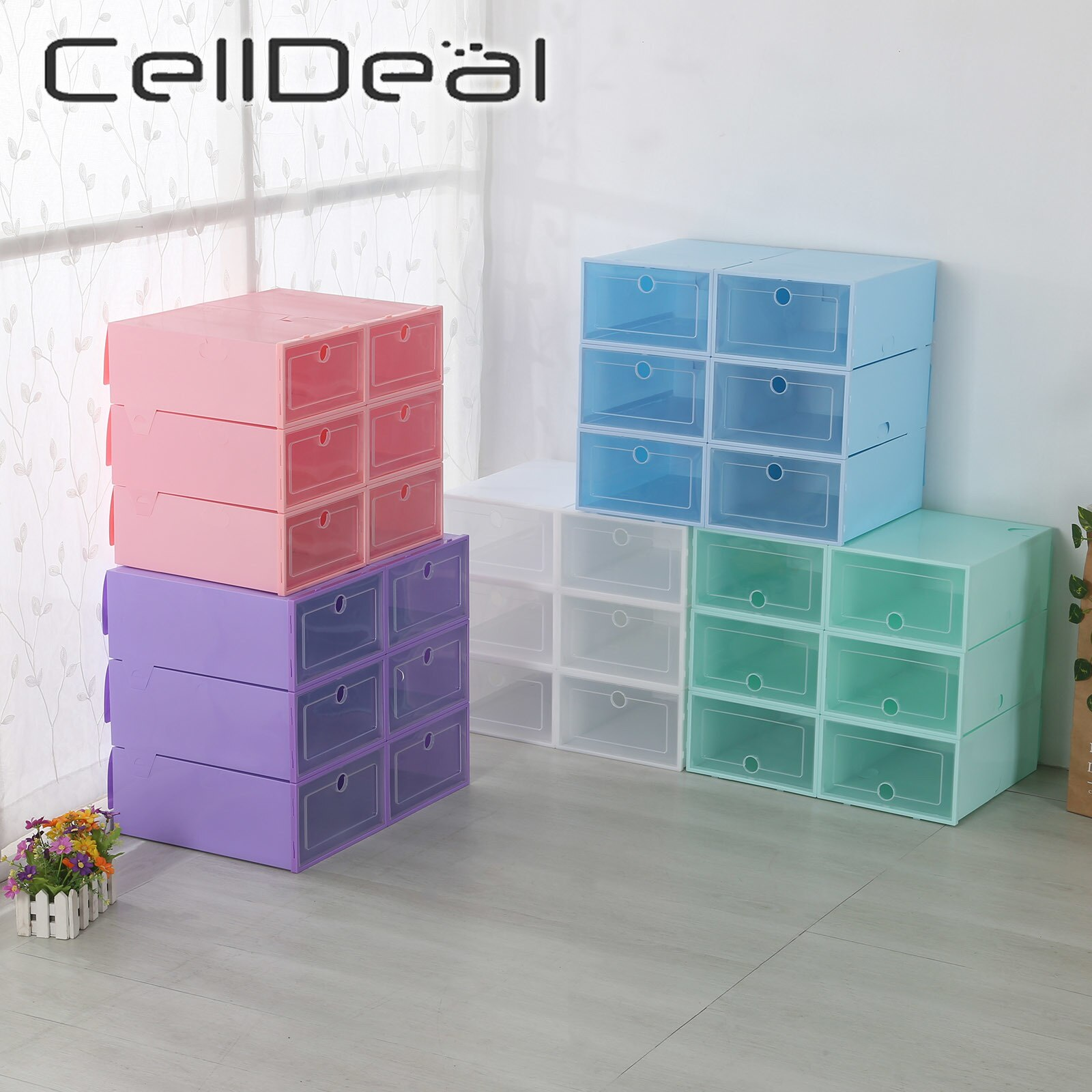 6PCS/Set Men Women Shoe Rack Storage Bins Drawers Transparent Plastic Shoe Box Folding Combination Flip Cover Storage Box