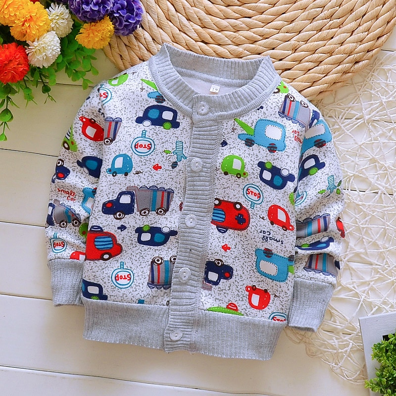 Весна-Осень 2019, хлопковые свитера для мальчиков, теплая одежда для маленьких мальчиков 0-2 лет, Детский Повседневный вязаный кардиган, свитера, футболка для маленьких девочек