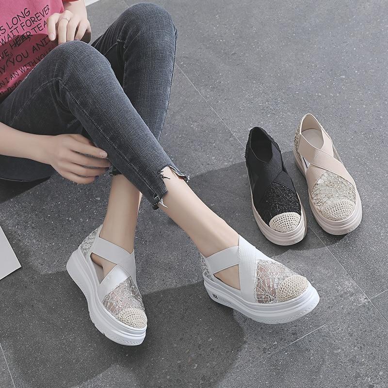 2021 أحذية الصيف للنساء ، حذاء أبيض للنساء ، مختلطة ، القوطية ، عادية ، المنسوجة ، الراحة ، تنفس ، الدانتيل ، أحذية من المطاط ، المتسكعون الضحلة