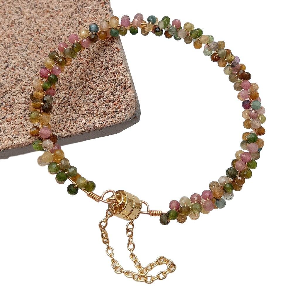 Pulsera de turmalina, Color Natural, multicolor