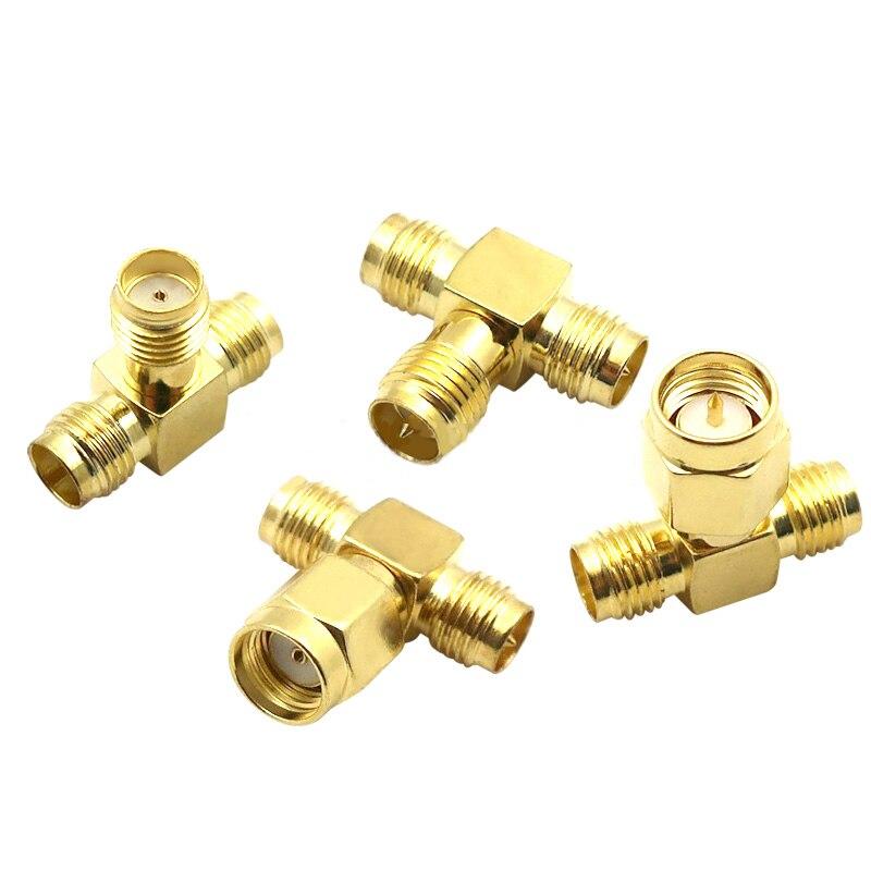 Коаксиальный разъем типа T SMA macho a 2 Dual SMA hembra, преобразователь антенны разделительной антенны 3 в, латунь, Золотой