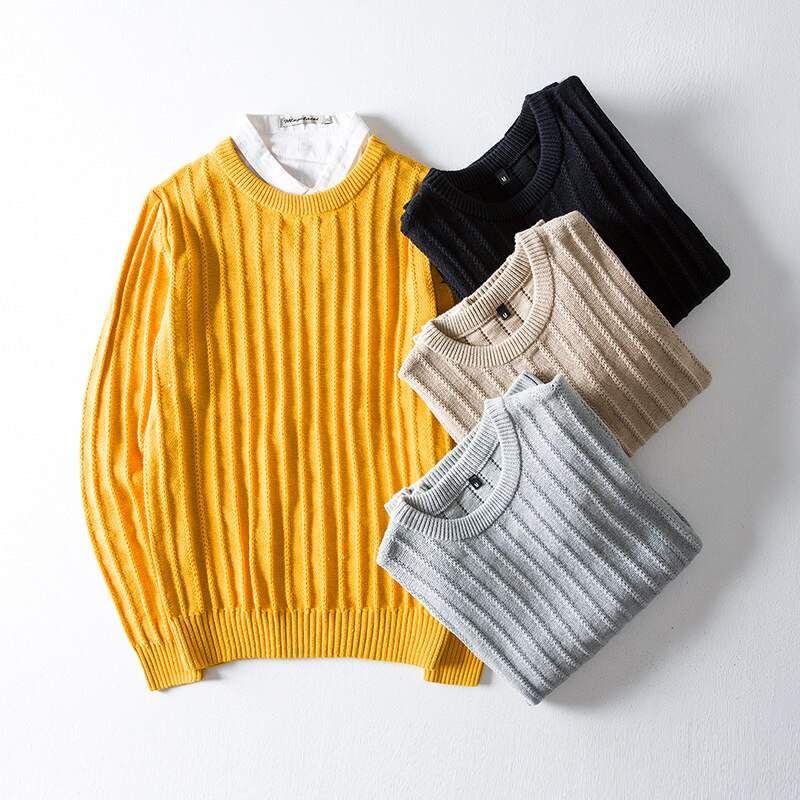 Spring Autumn Japanese Sweater Men's Trend Solid Color Pullover Sweater Round Neck Sweater Pullover For Men Knitted Top Male aliexpress crew neck linen flower color sweater men s pullover knitted sweater men s wear