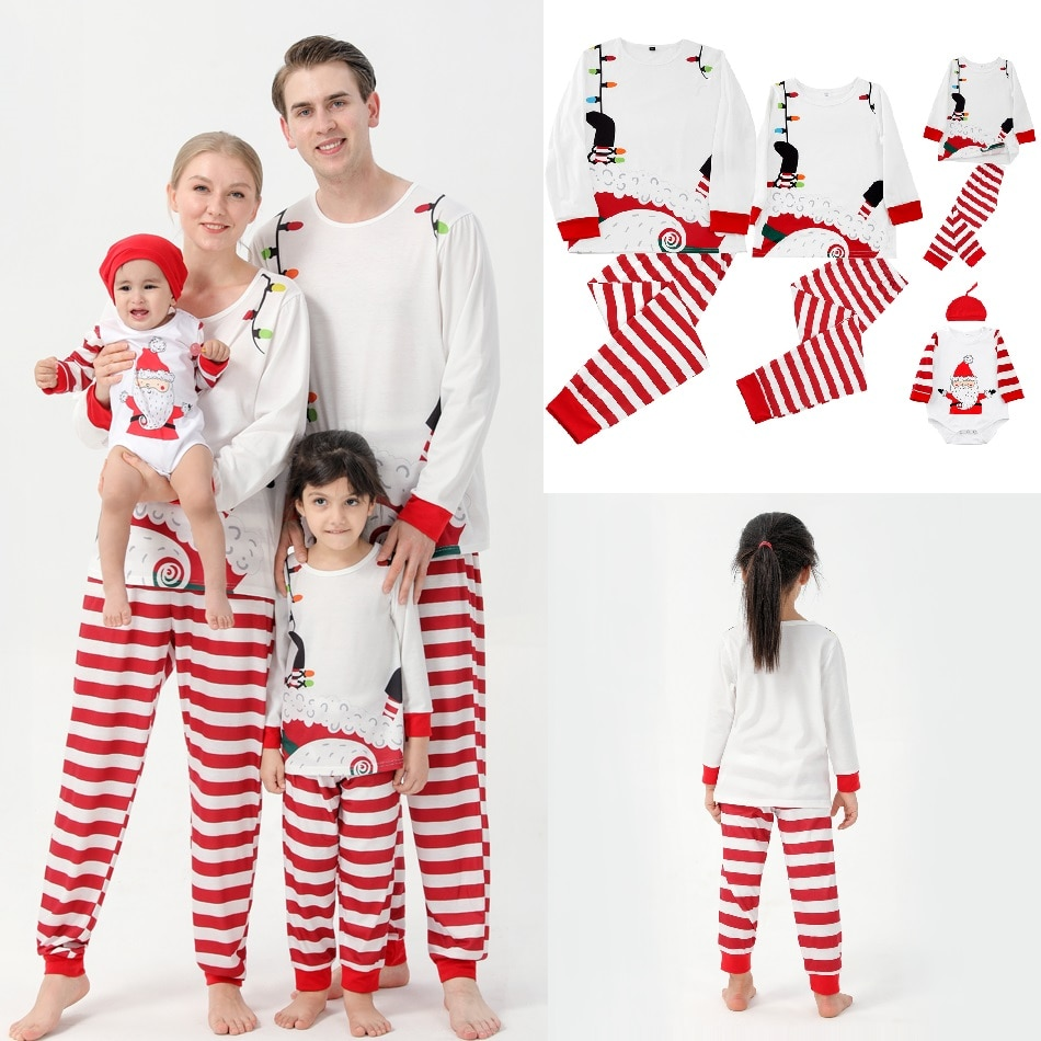 Фото - 2021 Christmas Family Matching Pajamas Sets Striped Father Mother Kids & Baby Pyjamas Mommy and Me Xmas Pj's Clothes Tops+Pants haig m father christmas and me