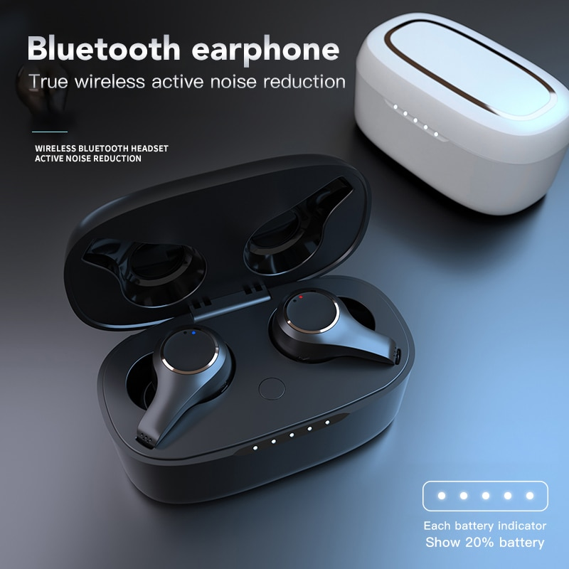 TWS V5.0 Bluetooth Earphone Wireless Waterproof Dual Mic Active Noise Cancelling Touch Adjust Volume