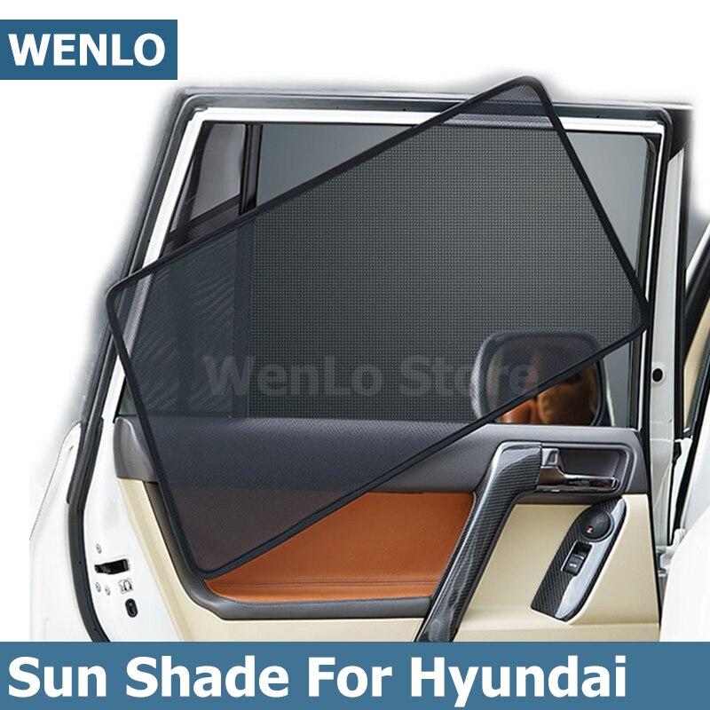 4 pçs magnético carro janela lateral pára-sol sombra laser sol malha capa para hyundai tucson ix25 ix35 ix45 elantra mistra verna lafesta