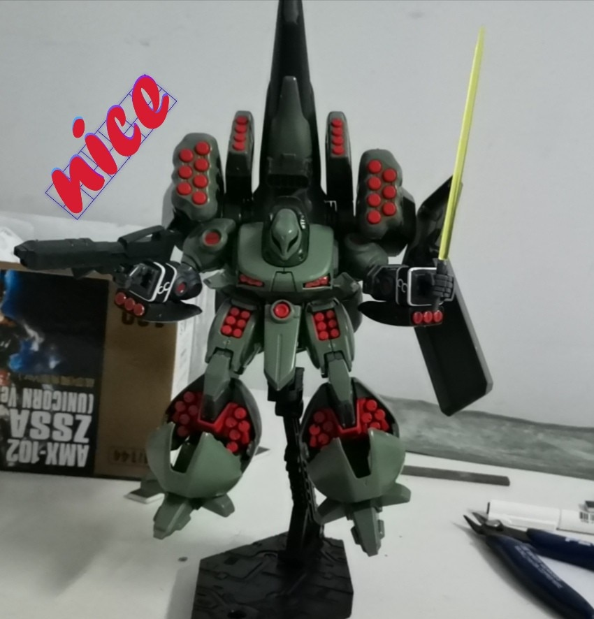 Figuras de acción de Anime japonés, modelo dan 1/144 HGUC 180 AMX-102 Zssa Jiesha Unicon Edition, Kits de ensamblaje