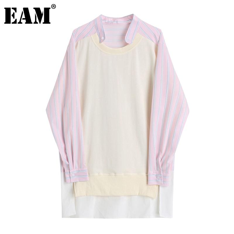[EAM] Women Plaid Irrgular Big Size Long Blouse New Round Neck Long Sleeve Loose Fit Shirt Fashion Spring Autumn 2021 1DD0351