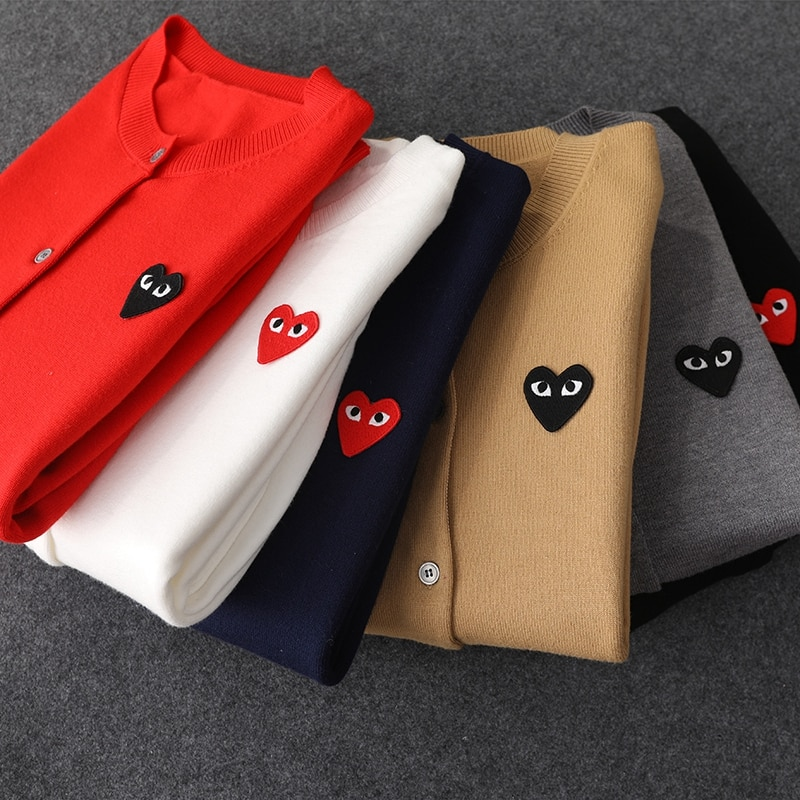Fashion Couple Long Sleeve Cashmere sweater Cardigan Casual Embroidery Love-Heart Cashmere sweater Cardigan Casual For Man Women