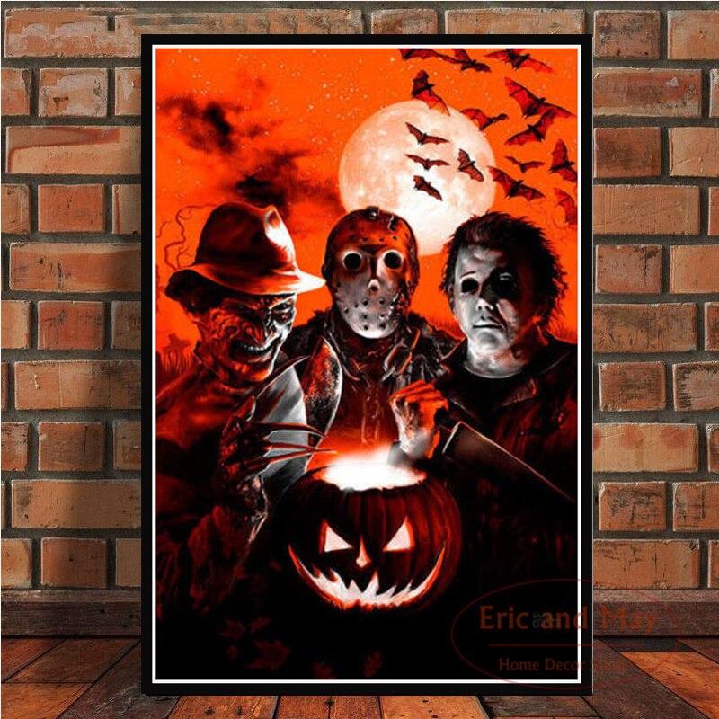 Jason voorhees freddy krueger clássico filme de terror poster imprime quadros da lona arte parede para sala estar decoração casa (2
