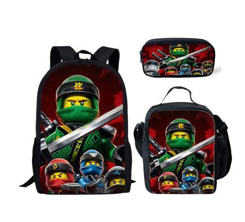 Mochila infantil ninjago 3 pçs/set, mochila escolar para crianças adolescentes meninos