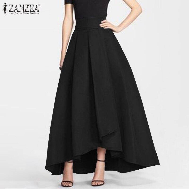 2020 zanzea mulheres maxi saias longas elegante de cintura alta trabalho ol saias jupe casual festa sólida a linha saia feminina faldas saia