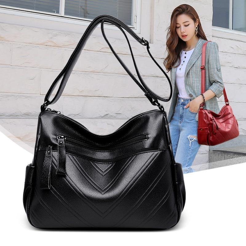 Large Capacity Women Handbag Black V-Line Messenger Bags Luxury Brand Shoulder Bag Female Big High Quality Leather Crossbody Bag