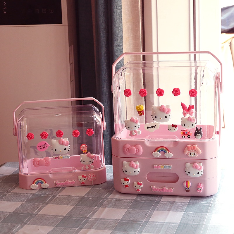 Cartoon cosmetic storage box, waterproof portable shelf with lid,dustproof skin care product storage