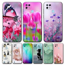 For Realme C21 Case Soft Silicone Case For Realme C21 Flower Style Back Cover For OPPO Realme C21 6.