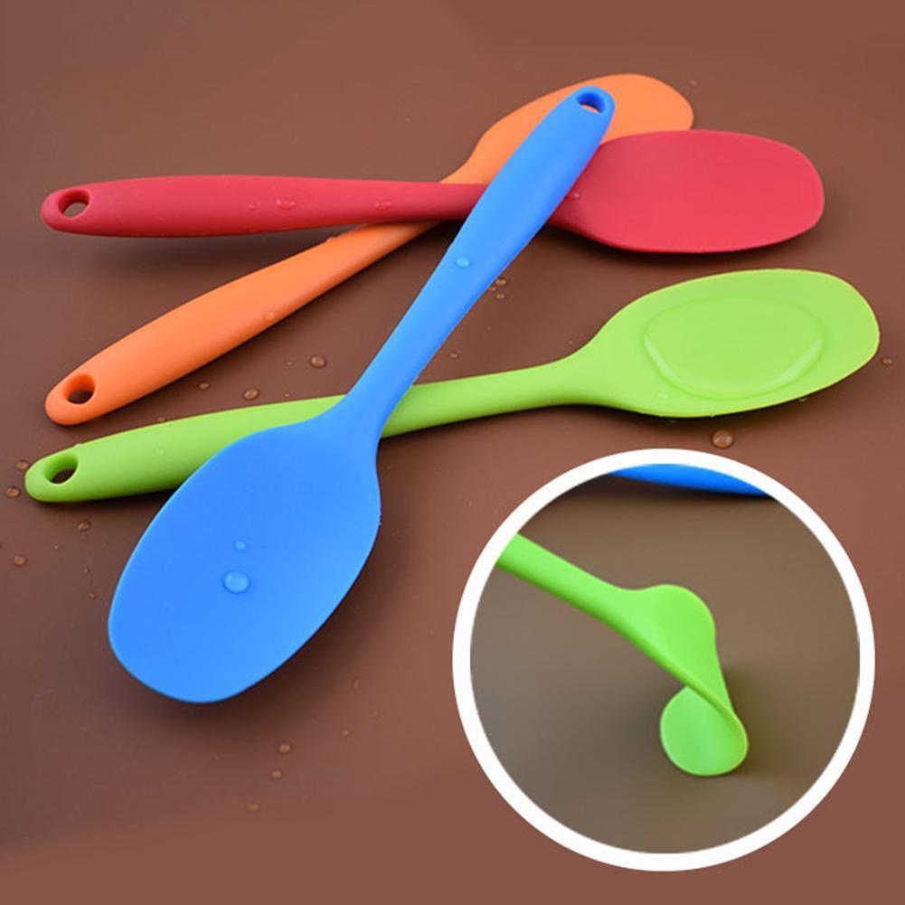 1pc silicone resistente ao calor colher flexível alça longa espátula não-vara raspador de sorvete colheres pá cozinha cozinhar utensílio
