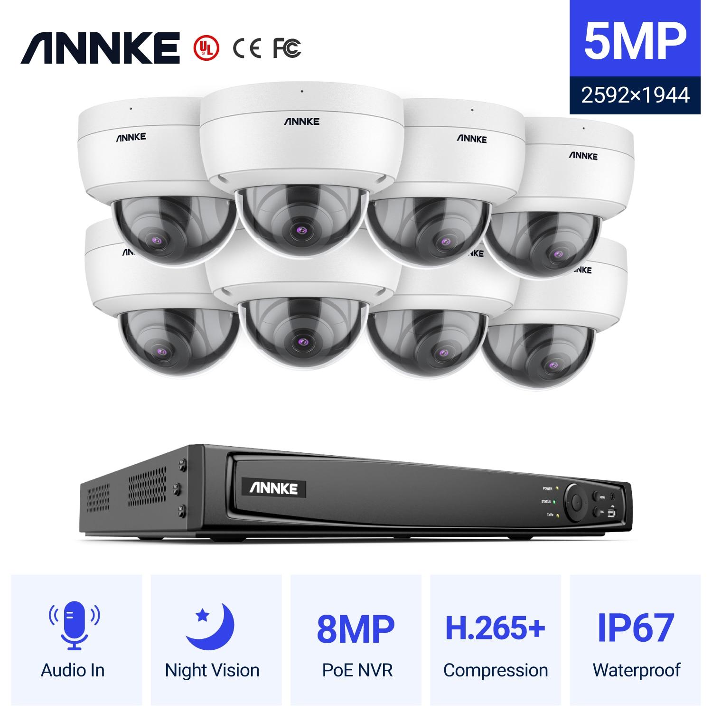 Сетевая система видеонаблюдения ANNKE, NVR с 16 каналов, FHD, 5 МП, POE, H.265 + 8 Мп, купольная камера безопасности с записью звука, 8x5 Мп