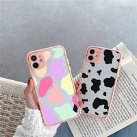 cow color print fashion pattern texture phone case matte transparent for iphone 7 8 11 12 s mini pro x xs xr max plus cover
