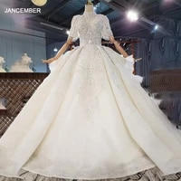 htl1882 white sequined beading wedding dress 2020 short sleeve applique ball gowns v neck lace up back