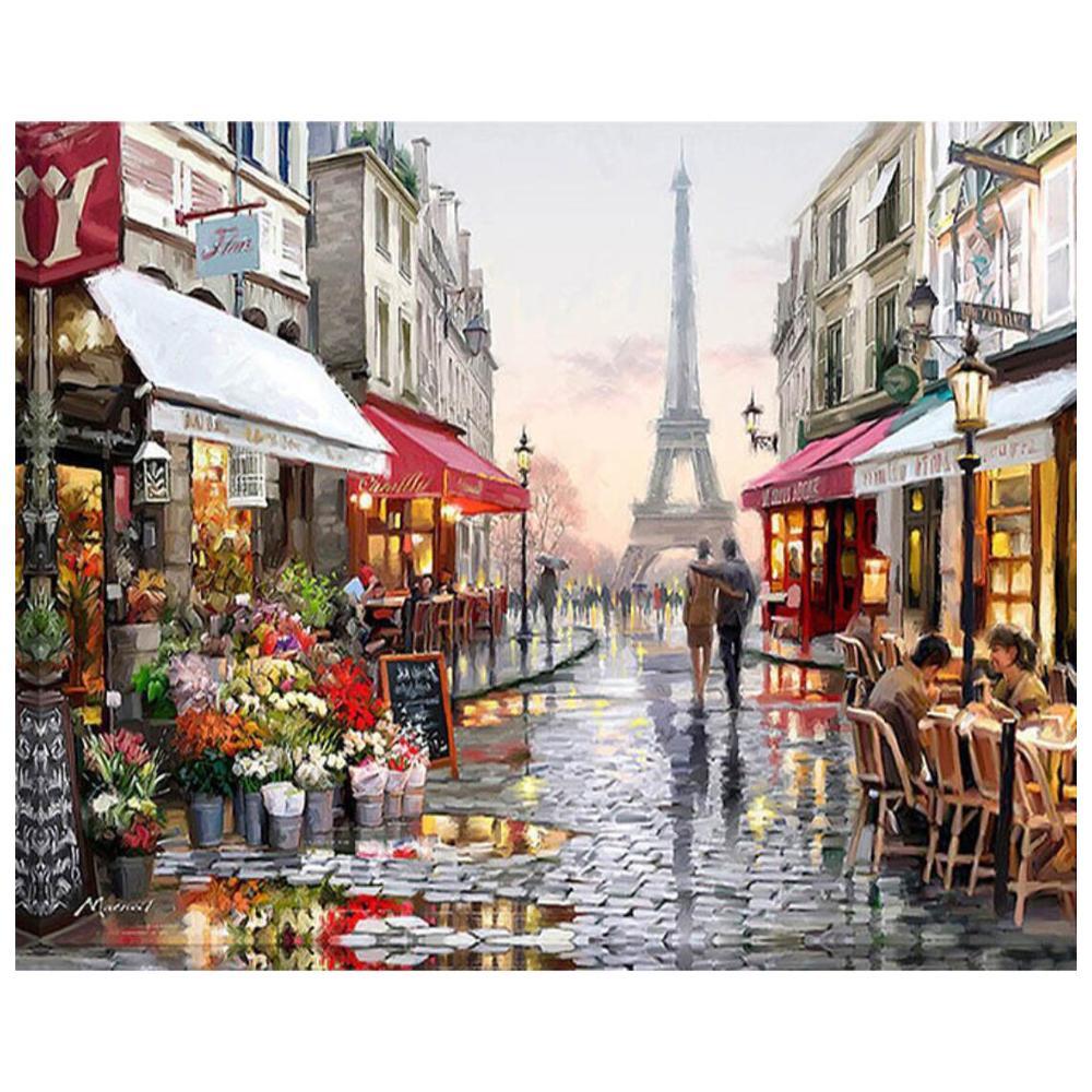 Diy pintura por números para adultos paris torre eiffel streetscape