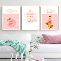 nordic beautiful pink flowers wall art canvas paintings girls room quotes wall art prints and posters living room home decor