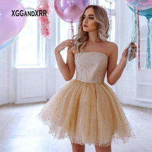 Luxury Short Prom Dress 2020 Champagne Mini Homecoming Gown Strapless Heavy Pearls Girls Bithday Party Dress Plus Size