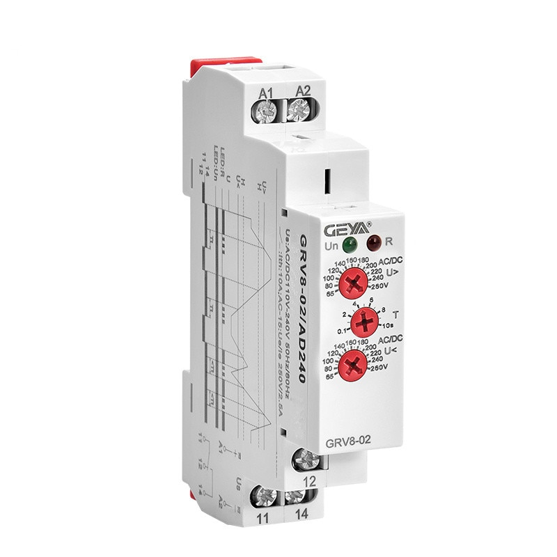 Single Phase Voltage Control Relay Over Voltage and Under Voltage Protection Monitoring Relay 10A 12V 48V 110V 240V geya gri8 01 current monitoring relay current range 8a 16a ac24v 240v dc24v overcurrent protection relay
