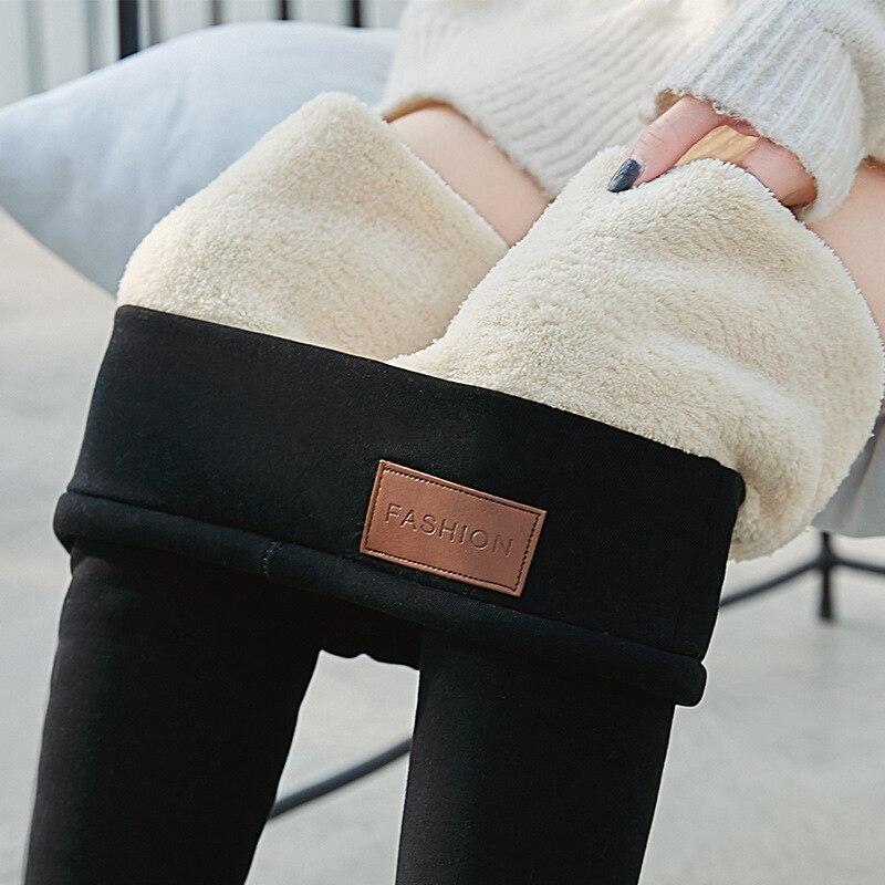 Preto quente calças leggings de inverno magro grosso velo meninas legging mulheres pele de cordeiro cashmere plus size workout leggings