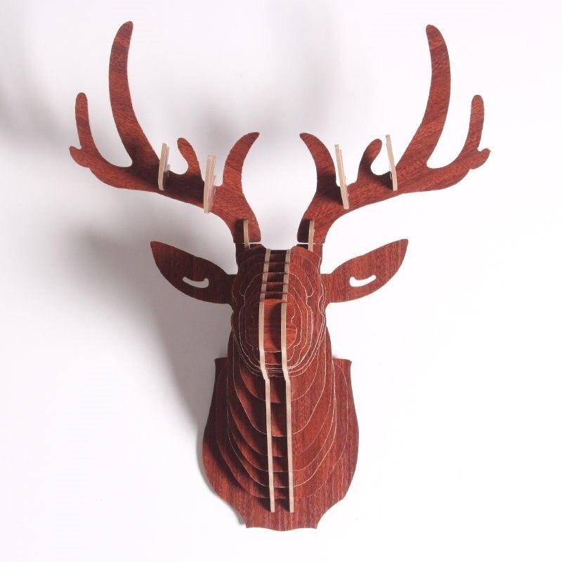 3d quebra-cabeça de madeira diy escultura animal abstrato veado estátua parede casa pendurado decoração mdf artesanato arte