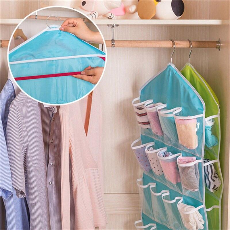 Útil rack armário de armazenamento guarda-roupa pendurado prateleira organizador 16-bolsos para roupas meia economia de espaço