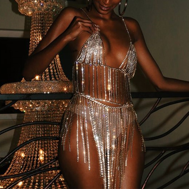 Disfraces de baile en barra, Sexy vestido de Metal con diamantes de imitación para mujer, borla brillante, cadena corporal, accesorios para discoteca, ropa de fiesta DCC157