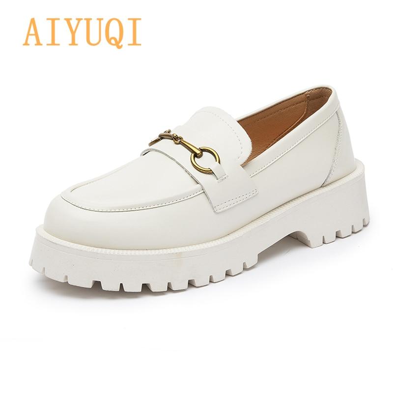 AIYUQI النساء أحذية لوفر 2021 ربيع جديد النمط البريطاني جلد طبيعي السيدات أكسفورد أحذية مشبك معدني أحذية رياضية كاجوال السيدات