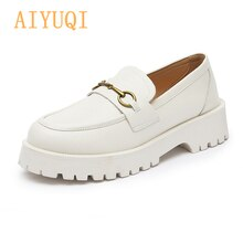 AIYUQI Women Loafer Shoes 2021 Spring New British Style Genuine Leather Ladies Oxford Shoes Metal Bu