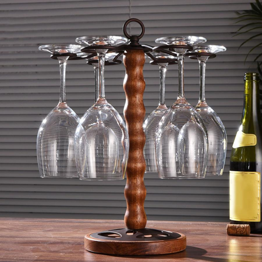 Glass Display Rack Freestanding Tabletop Stemware Storage Display Rack Wine Glass Cup Holder with 6 Hooks