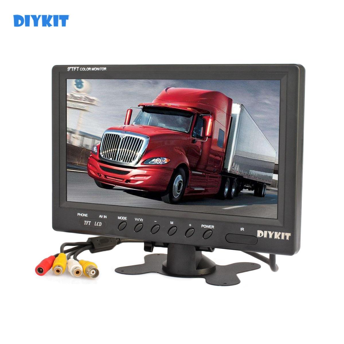 "DIYKIT 9"" TFT LCD Car HD Monitor Display Car Reverse Rear View Monitor Screen with BNC / AV Input Remote Control DVD VCR"