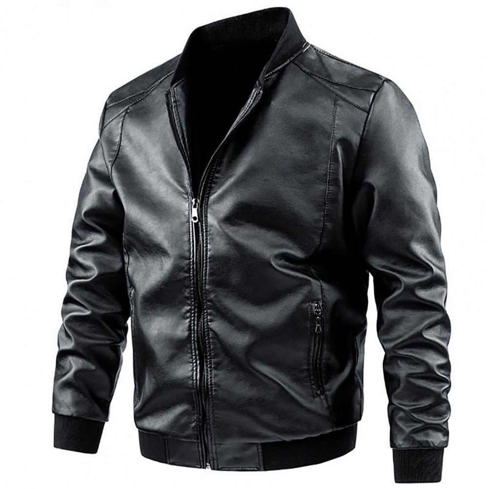 Прямая поставка! Куртка-бомбер Мужская ветрозащитная, Байкерский стиль, длинный рукав, повседневная одежда