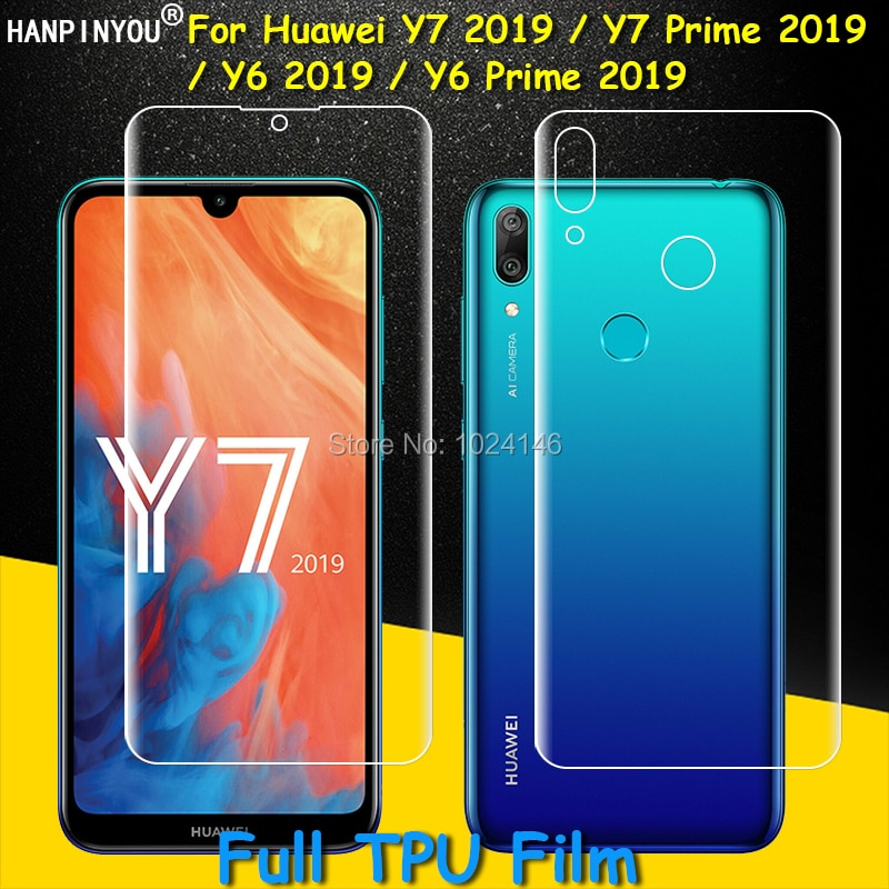 Front / Back Full Coverage Clear Soft TPU Film Screen Protector For Huawei Y6 Y7 2019 / Y6 Y7 Prime