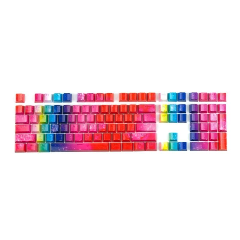 أغطية مفاتيح PBT بإضاءة خلفية بألوان قوس قزح شيري MX طقم أغطية مفاتيح Doubleshot OEM 108 مفتاح