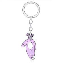 TV Show Friends Chandler Keychain Chandler Bing Cute Pink Rabbit Monica's Door Key Chains for Men Fans Souvenir Jewelry Set Gift