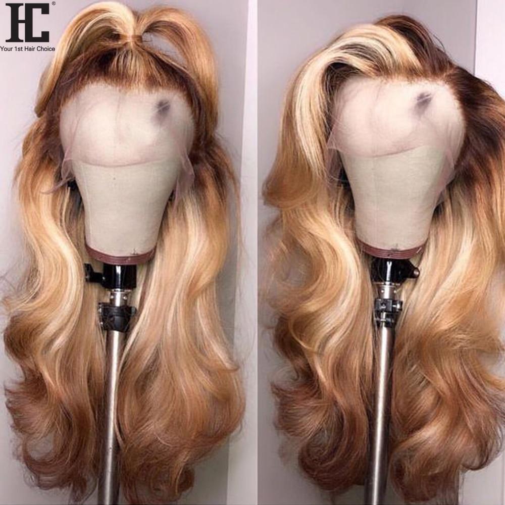 13x4 Peluca de cabello humano frontal de encaje brasileño onda del cuerpo Remy 150% 4/27 Ombre cabello humano pelucas de encaje con pelo de bebé Pre desplumado HC