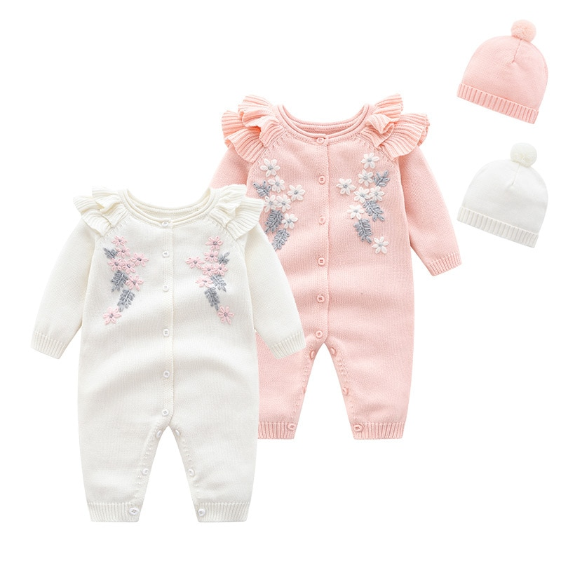 Yg Autumn Winter New Embroidery Knitted Jacket, Long Sleeved Baby Sleeved Baby Cotton 0-2 Year Old B