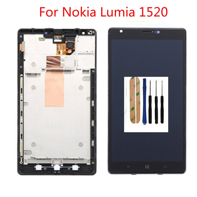 Calidad Superior 100% nueva pantalla LCD para Nokia Lumia 1520 visualización LCD con pantalla táctil digitalizador ensamblado con marco