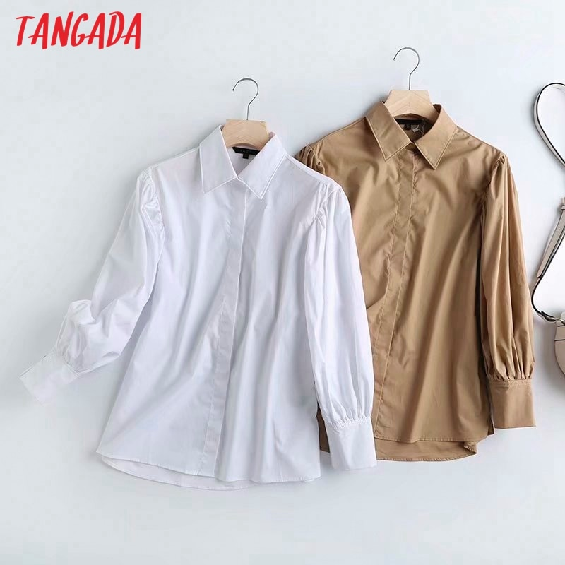 Tangada, camisas blancas de algodón caqui para mujer, puff de manga larga, blusas de Ropa de Trabajo elegantes de oficina de alta calidad 4C37
