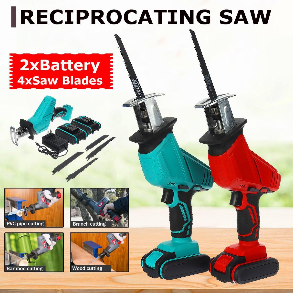Drillpro sem fio reciprocating saw + 4 lâminas de serra velocidade ajustável motosserra madeira metal pvc tubo corte com 2 bateria de lítio