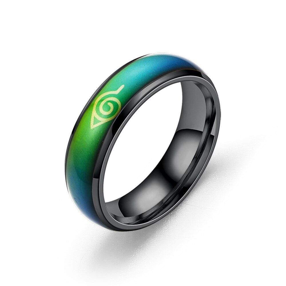 AliExpress - Cosplay Ring Leaf Konoha Village Symbal Sign Sasuke Ninja Black Thermochromic Stainless Steel Ring Gift for Girlfriend