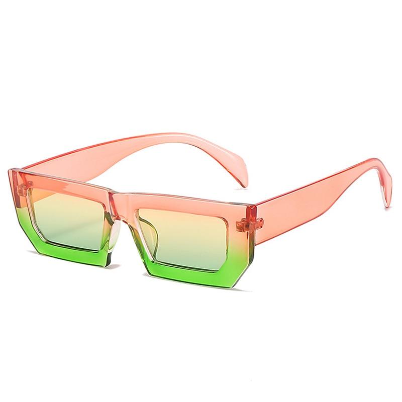 Trendy Punk Square Sunglasses Women Summer Fashion Rectangle Sunglasses Men Designer Yellow Sun Glas