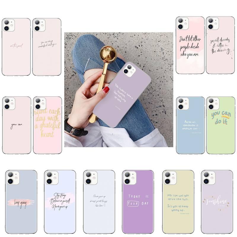 Fundo de cor maxim motivador texto caso de telefone macio para o iphone x xs max 6s 7 mais 8 8plus 5 5S se 2020 xr 11 11pro max
